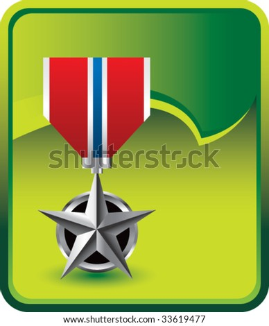 military medal on green rip curl background - stock vector