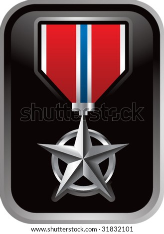 military medal on silver frame - stock vector