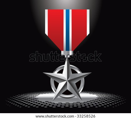 military medal under spotlight - stock vector