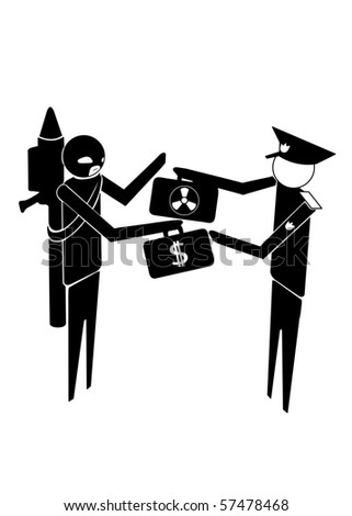 military or police exchanging nuclear bomb for money with terrorist - stock vector