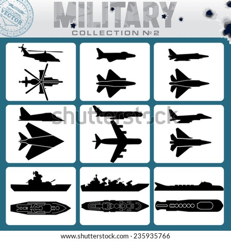 Military Planes and Warships. Vector Icon Set - stock vector