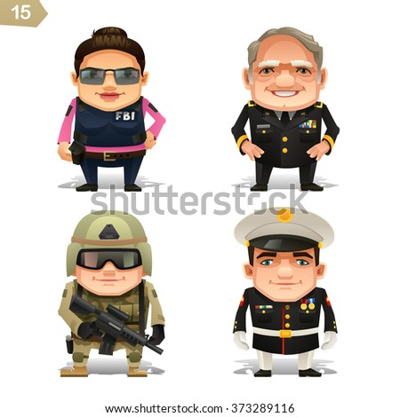 Military professions set - stock vector