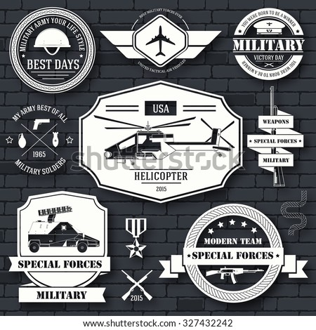 military set label template of emblem element for your product or design, logo, element, web and mobile applications with text. Vector illustration with thin lines isolated icons on stamp symbol - stock vector