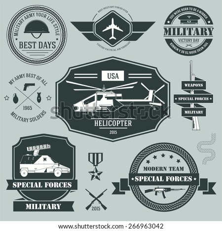 military set label template of emblem element for your product or design, web and mobile applications with text. Vector illustration with thin lines isolated icons on stamp symbol.  - stock vector