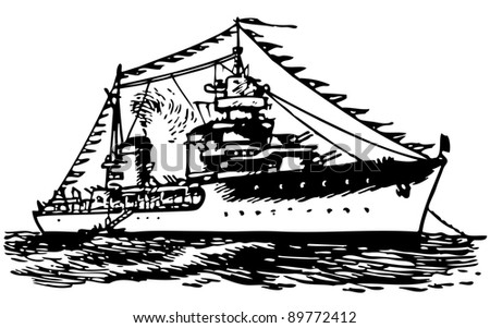 Military ship - stock vector
