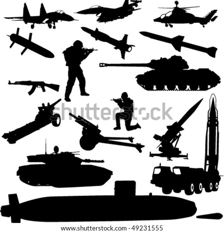 military silhouette - vector - stock vector