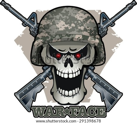 Military Skull Helmet Crossed Assault Rifles Stock Vector ...