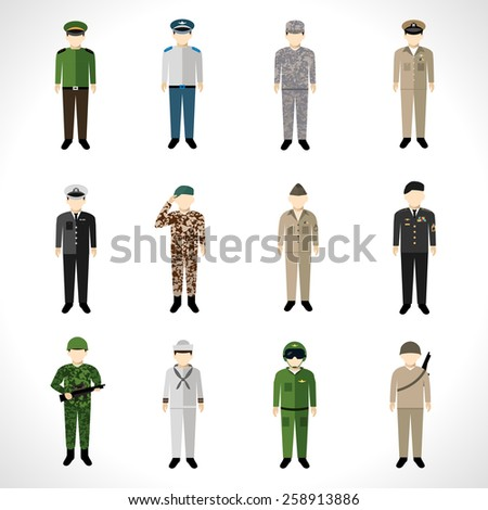 Military soldier in uniform avatar character set isolated vector illustration - stock vector