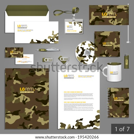 Military stationery template design with camouflage pattern. Documentation for business. - stock vector