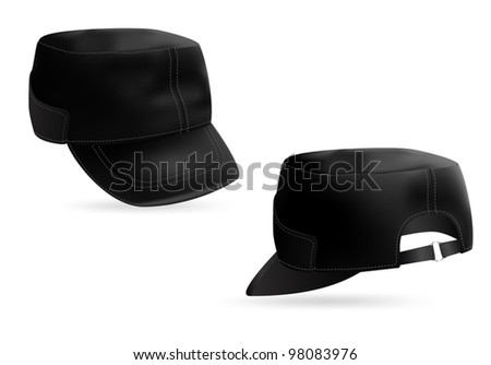 Military style black cap blank template. Front and rear views. - stock vector
