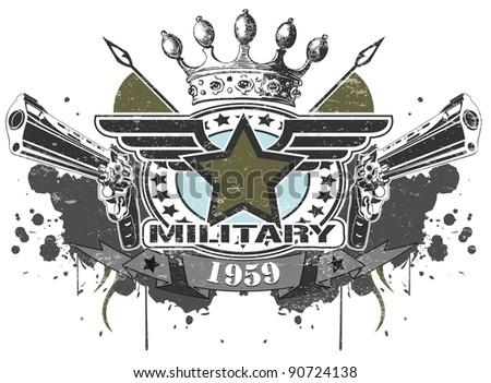 Military symbol with pistols - stock vector