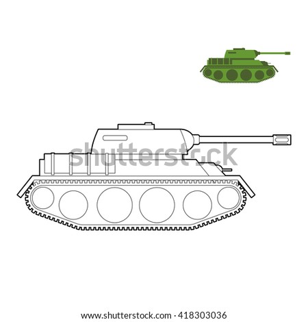 military tank coloring book fighting technique in linear style armored combat vehicle tracked