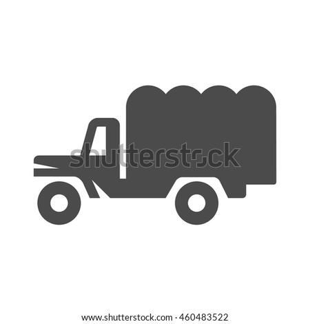 Military truck icons in single color. War transportation. - stock vector