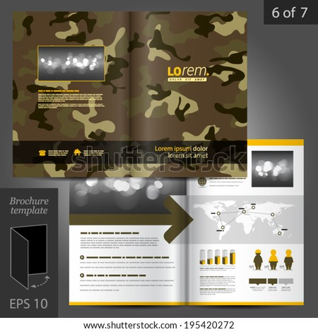Military vector brochure template design with camouflage pattern - stock vector