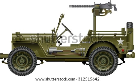 military vehicle with mounted machine gun - stock vector