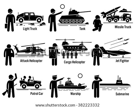 Military Vehicles Army Soldier Transportation Set - stock vector