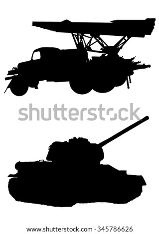 Military vehicles silhouette - stock vector