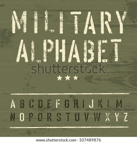 Military Vintage Alphabet. Vector, EPS10 - stock vector