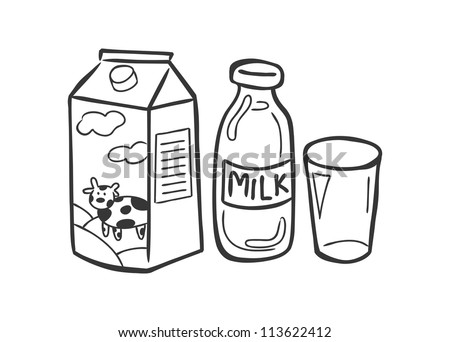 milk and dairy product doodle - stock vector