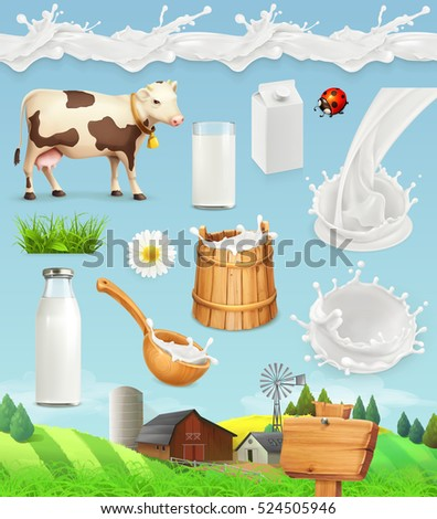 Milk and farm. Bottle, glass, spoon, bucket. Drops seamless pattern. Natural dairy products. 3d vector icon set