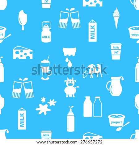 milk and milk product theme icons seamless pattern eps10 - stock vector