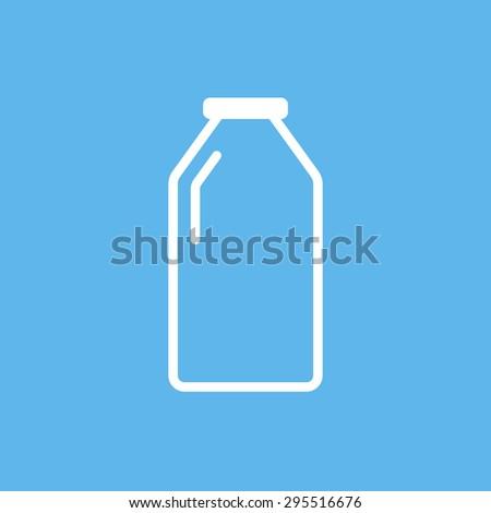 Milk bottle flat design style outline icon, modern minimal line vector symbol - stock vector