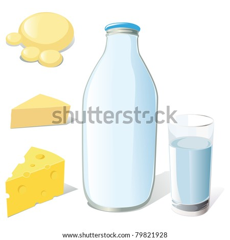 milk bottle, glass and cheeses - stock vector