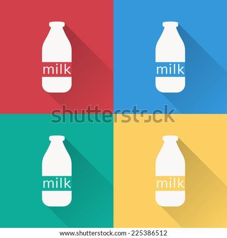 milk bottle icon , flat design on 4 color background - stock vector