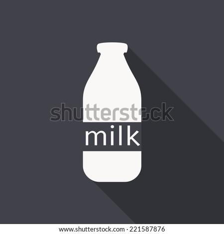 milk bottle icon , vector illustration , flat design - stock vector