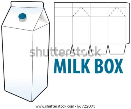 milk box - stock vector