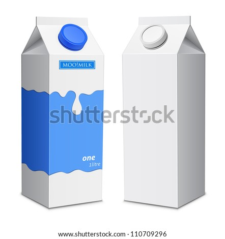 Milk box template. Milk cartons with screw cap - stock vector
