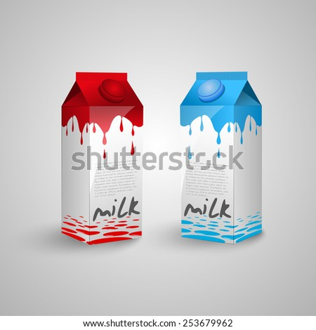 Milk box template. Milk cartons with screw cap and red or blue milk drops - stock vector