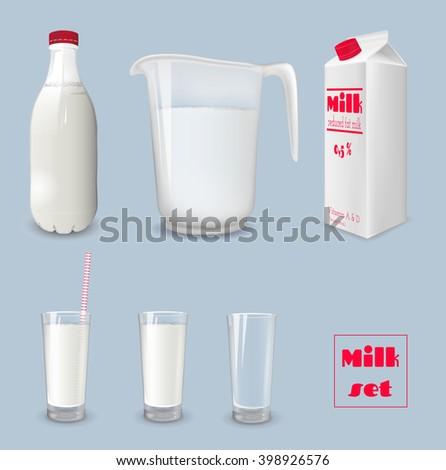 Milk carton and glass of milk. Bottle of milk and jug. Vector illustration - stock vector