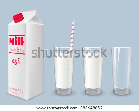 Milk carton and glass of milk. Reduced fat milk. - stock vector