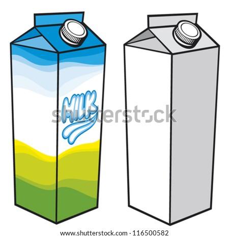 milk carton (milk carton with screw cap, carton box, milk box, milk carton packages, milk pack) - stock vector