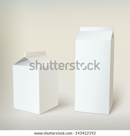 Milk Carton Packages Blank White, vector for your design - stock vector