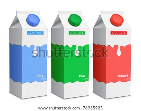 Milk carton with screw cap. Collection of milk boxes