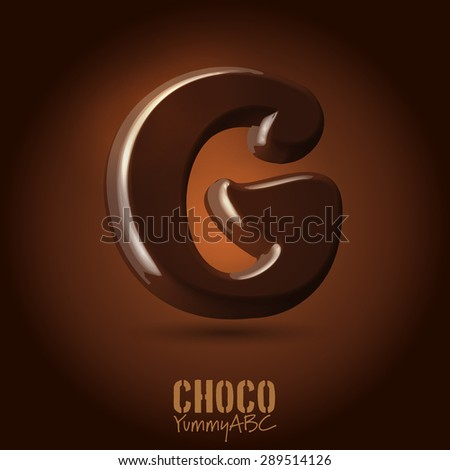 Milk chocolate retro curved glossy vector dark 3d typeset - capital G - stock vector
