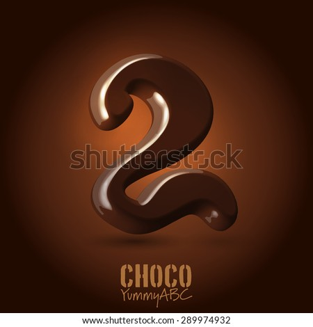 Milk chocolate retro curved glossy vector dark 3d typeset - numeral 2 - stock vector