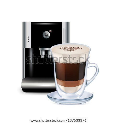 milk coffee and coffee machine isolated on white - stock vector