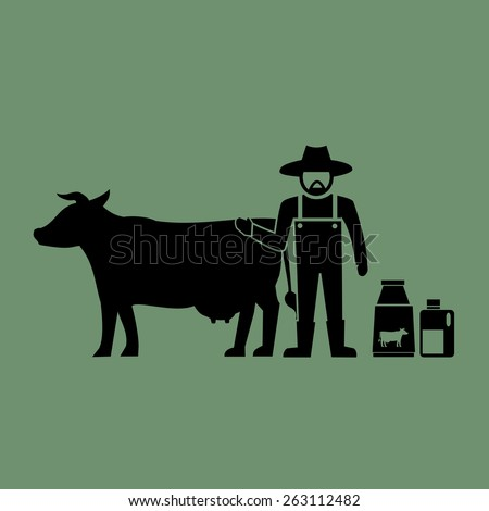 Milk cow farming icons.vector - stock vector