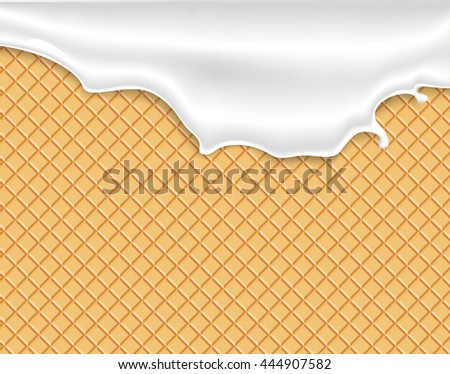 Milk cream or yogurt drains for the collection of seamless textures of waffles. Easy to change colors. - stock vector