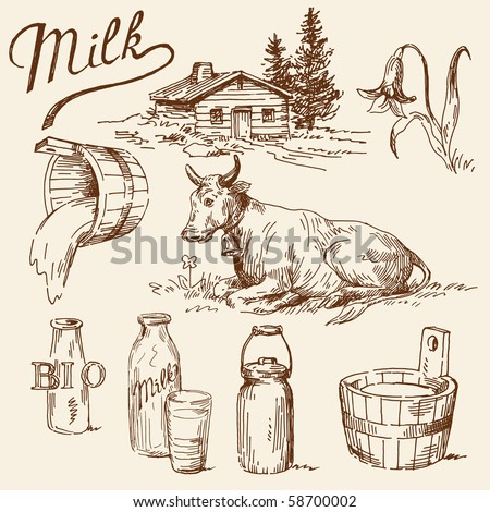 milk doodles - stock vector