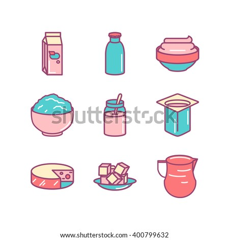 Milk farm fresh products icons sings set. Thin line art icons. Flat style illustrations isolated on white. Line icons for design projects. - stock vector