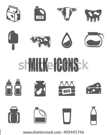 Milk flat icon set - EPS 10 vector