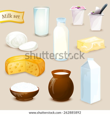 Milk food and drink products decorative icons set with yogurt cheese butter isolated vector illustration - stock vector