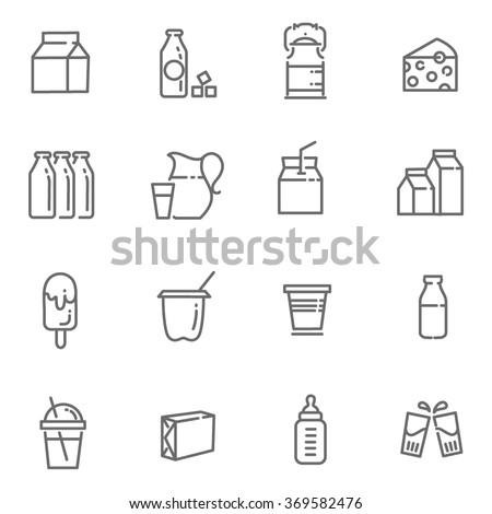 Milk icons - stock vector