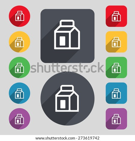 Milk, Juice, Beverages, Carton Package icon sign. A set of 12 colored buttons and a long shadow. Flat design. Vector illustration - stock vector