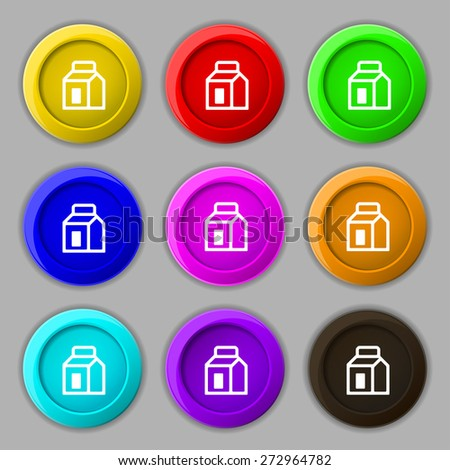 Milk, Juice, Beverages, Carton Package icon sign. symbol on nine round colourful buttons. Vector illustration - stock vector