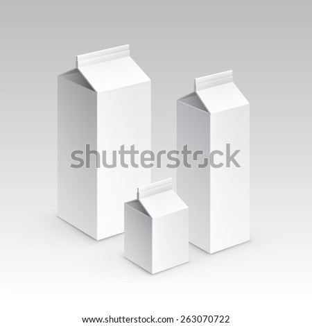 Milk Juice Carton Packaging Package Box White Blank Isolated Vector Set - stock vector